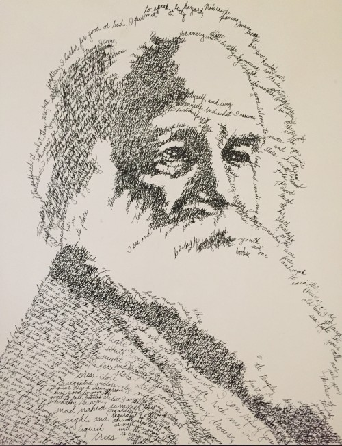 Whitman Pen and ink by J. Sokol, 1980